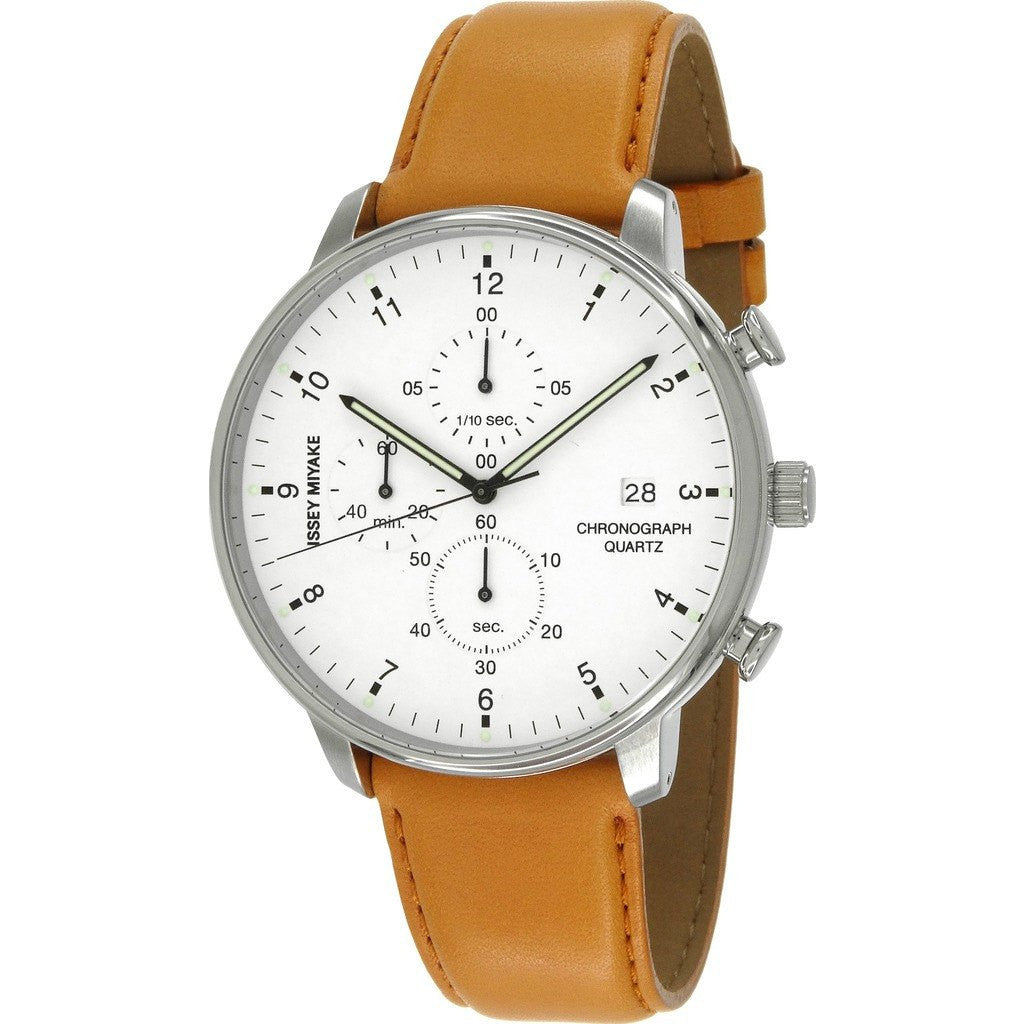Issey Miyake C White Chronograph Watch | Tan Leather NYAD004Y