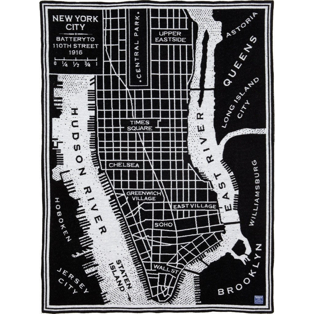 New York Map Black And White.Faribault New York Map Wool Throw Black 12271 50x65 Sportique