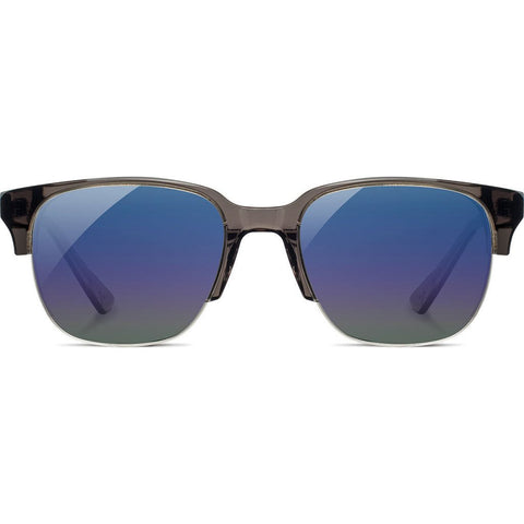 Shwood Newport Acetate Sunglasses 52mm | Charcoal/Elm Burl - Blue Flash Polarized WANCELB3P