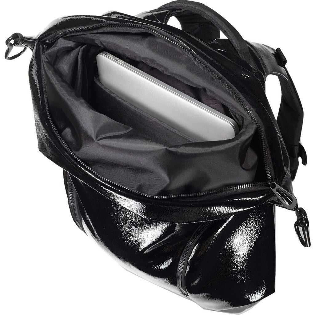 Cote&Ciel Nile Glossy Laquered Polymer Backpack | Liquid Black 28466