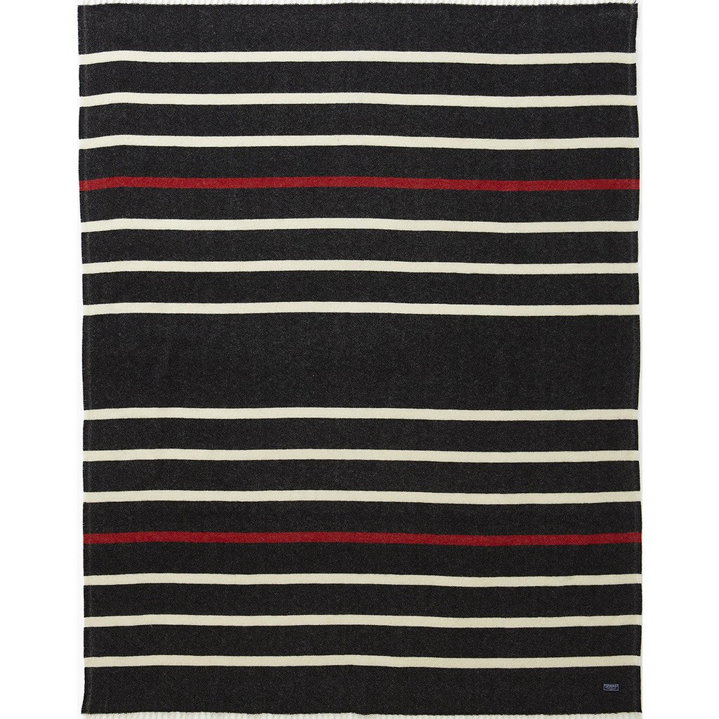 Faribault Nisswa Stripe Wool Throw | Black 12189 50x72