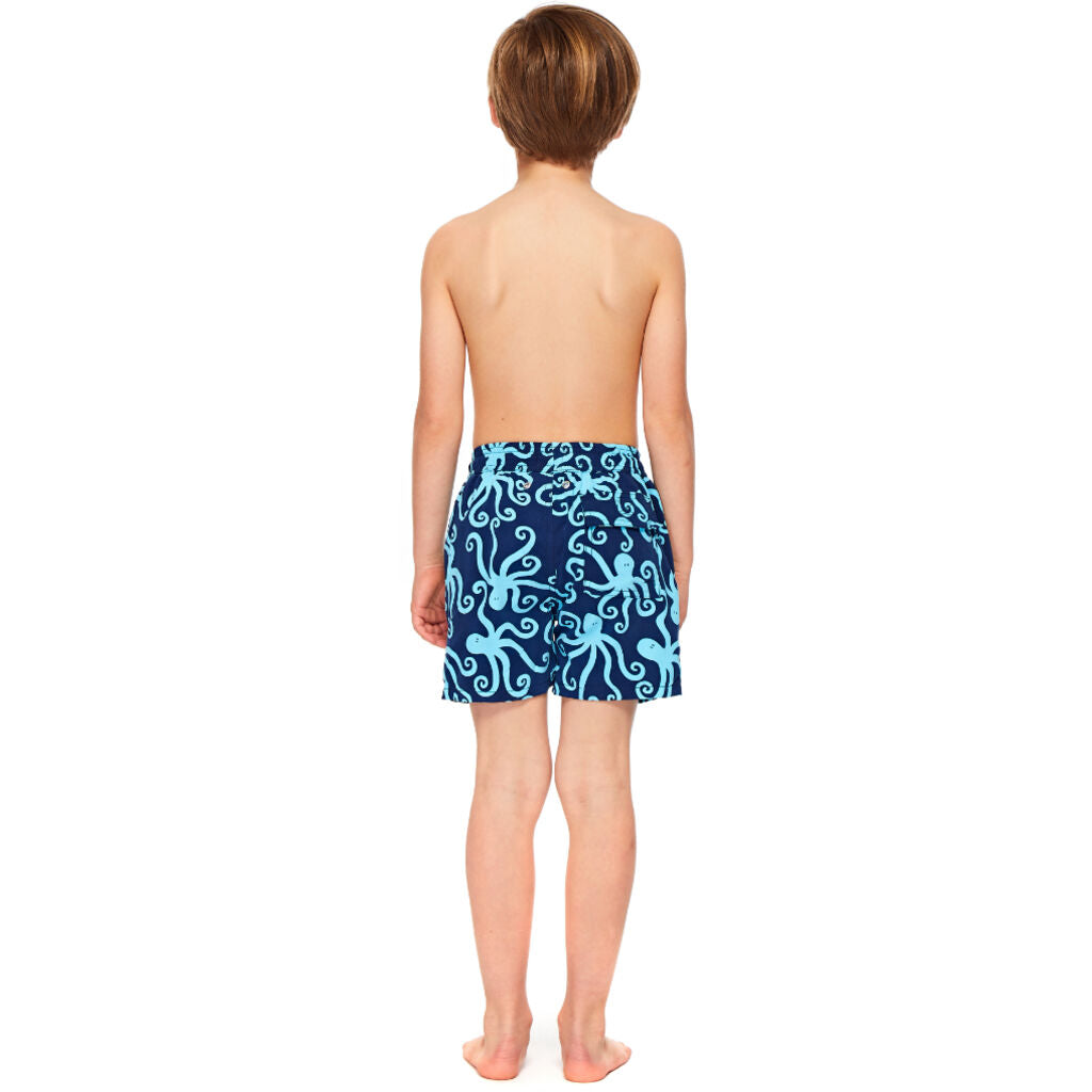Tom & Teddy Boy's Octopus Shorts | Dark Blue & Sky