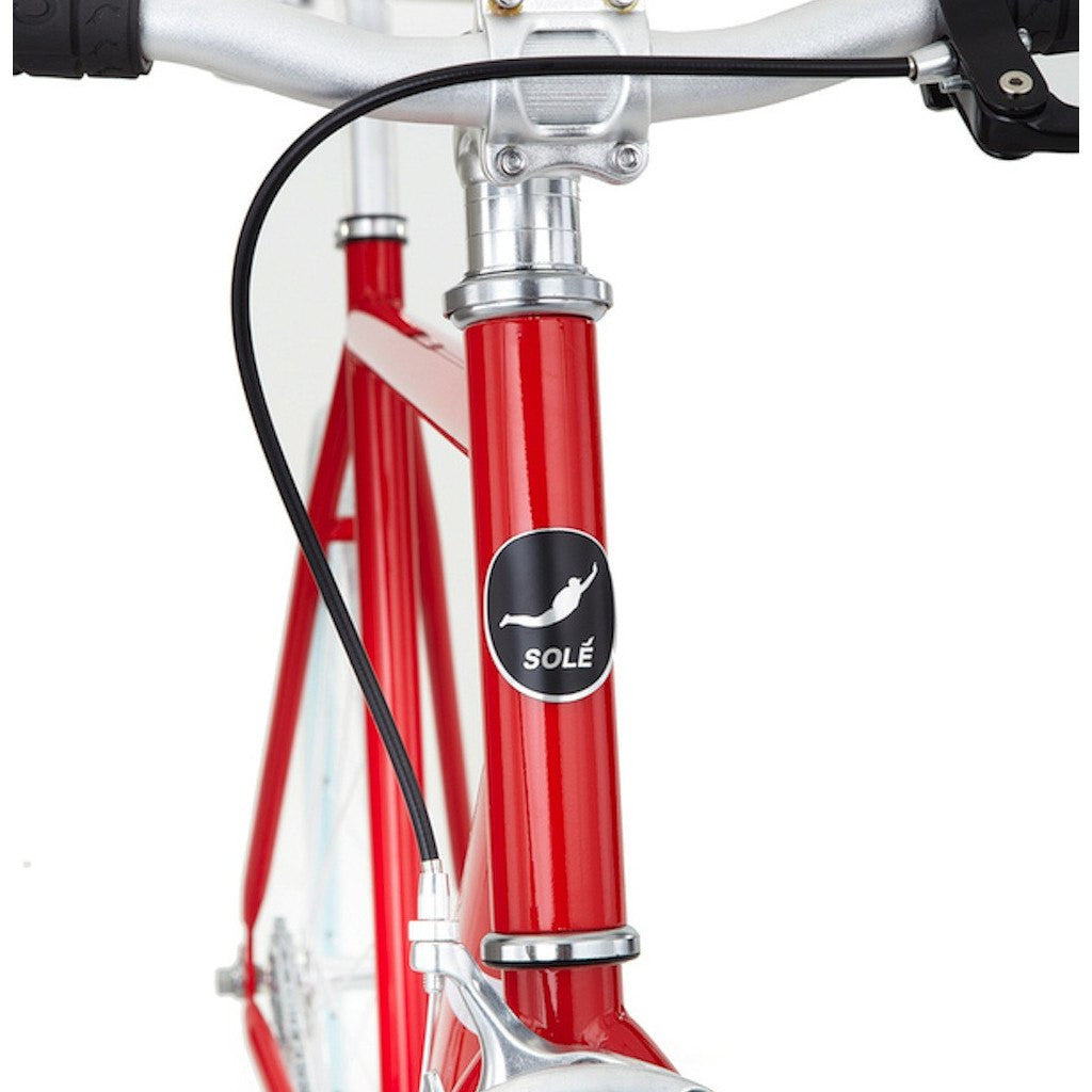 Sole Bicycles OFW Fixed Single Speed Bike | Candy Apple Red Frame/Baby Blue Rims Sole 035-49