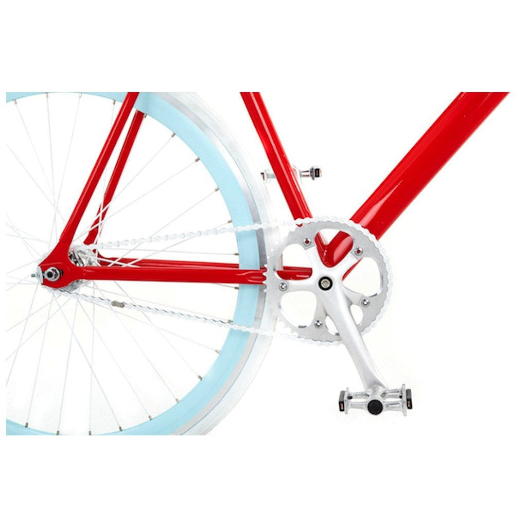 Sole Bicycles OFW Fixed Single Speed Bike | Candy Apple Red Frame/Baby Blue Rims Sole 035-55