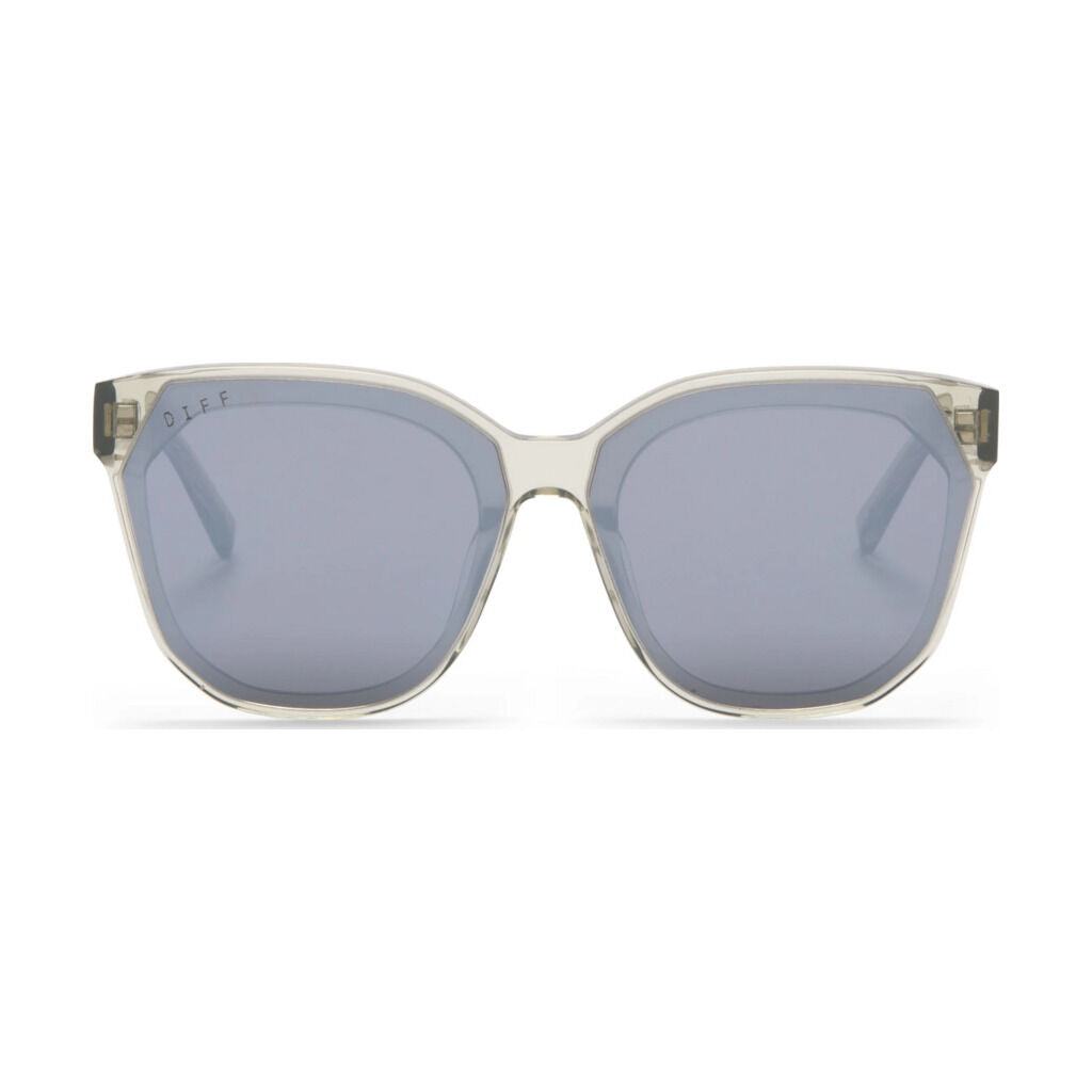 Diff Eyewear Gia Sunglasses | Olive Crystal + Grey Mirror