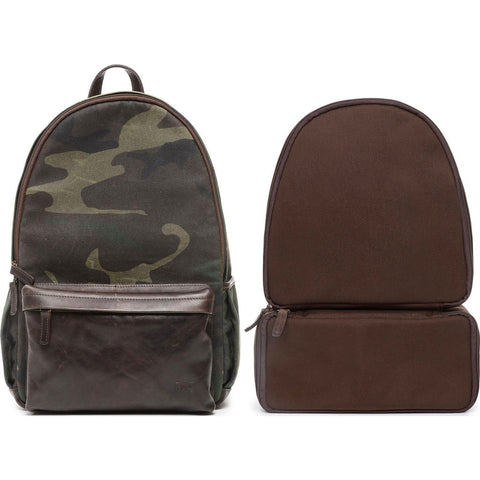 ONA Clifton Camera Backpack | Camouflage Waxed Canvas/Leather