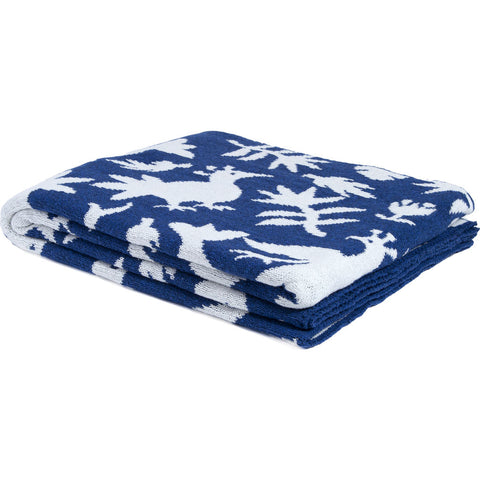 in2green Reversible Otomi Throw | Cobalt BL02ROT7