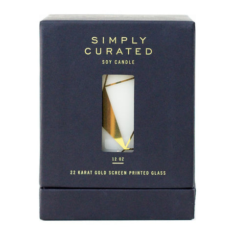 Simply Curated The Cocktail Collection 22K Gold Soy Candle | Oakmoss + Leather