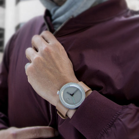 Aggregate Masonic Grey Concrete Watch | Oat Brown Leather