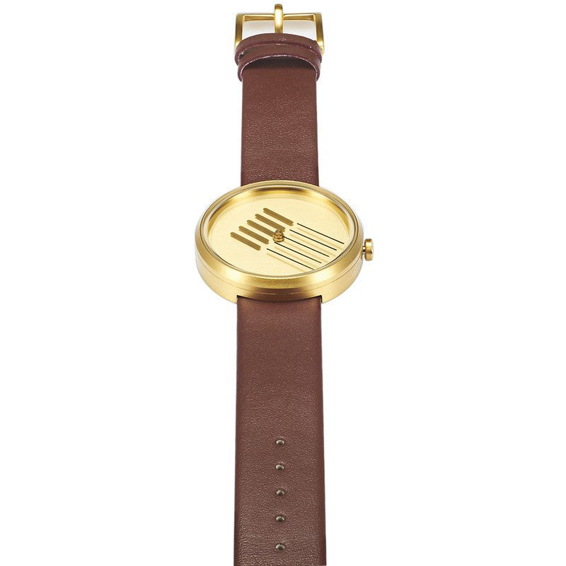Projects Watches On Right Track | Brass/Brown Leather