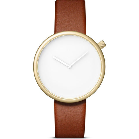 bulbul Ore 05 Men's Watch | Matte Golden Steel on Brown Italian Leather