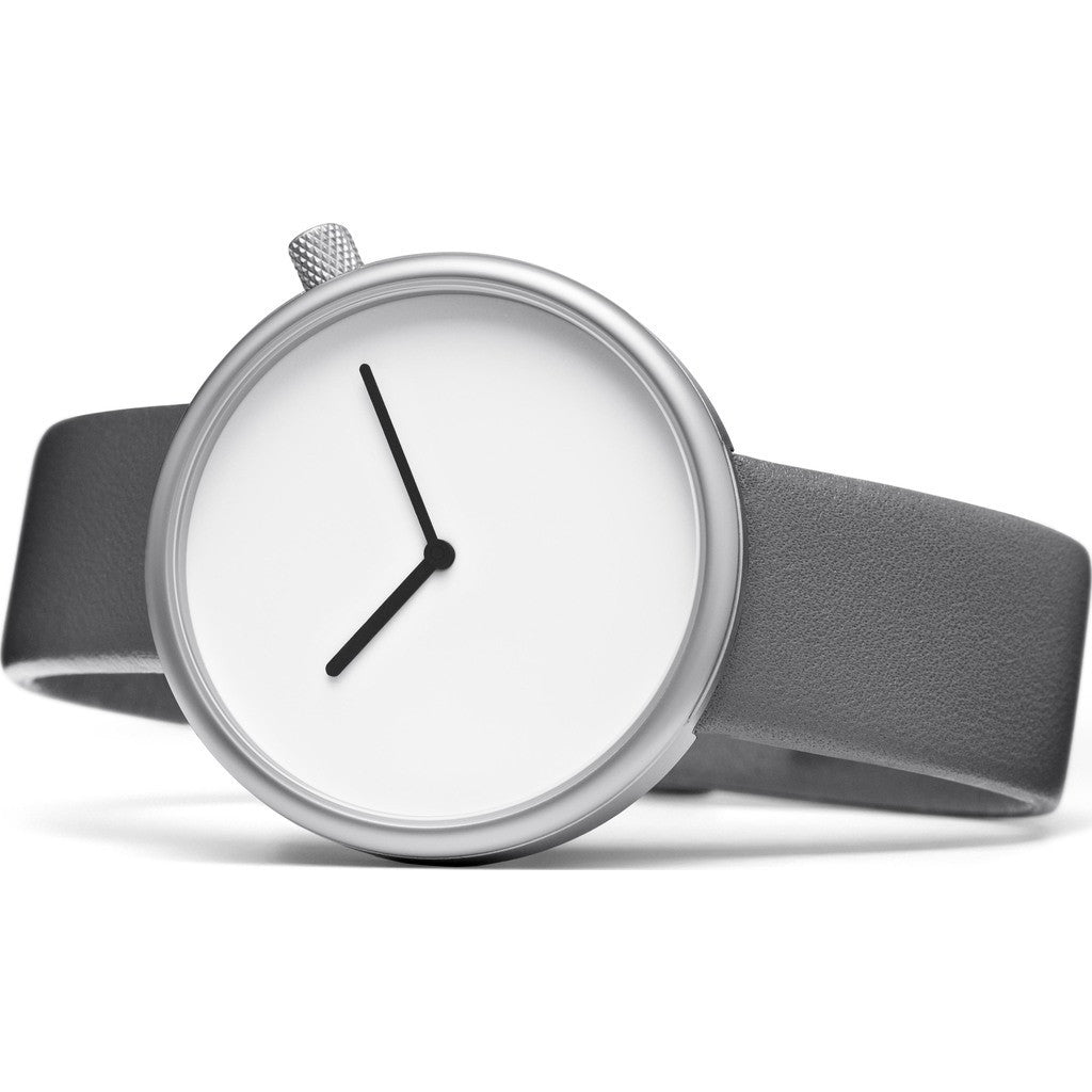 bulbul Ore 09 Watch | Matte Steel on Grey Italian Leather Ore 9