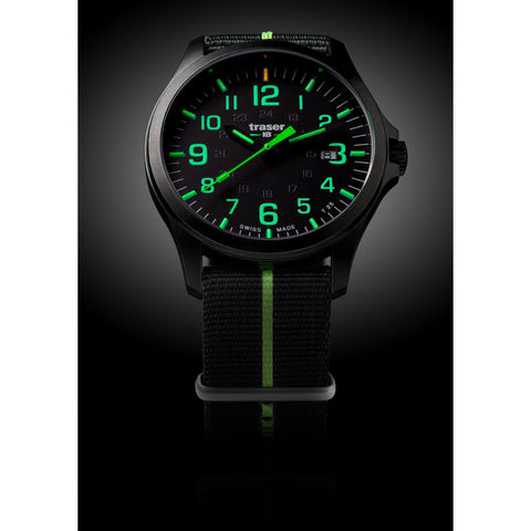 traser H3 Black/Lime P67 Officer Pro Gunmetal Watch | Textile Strap72-107426