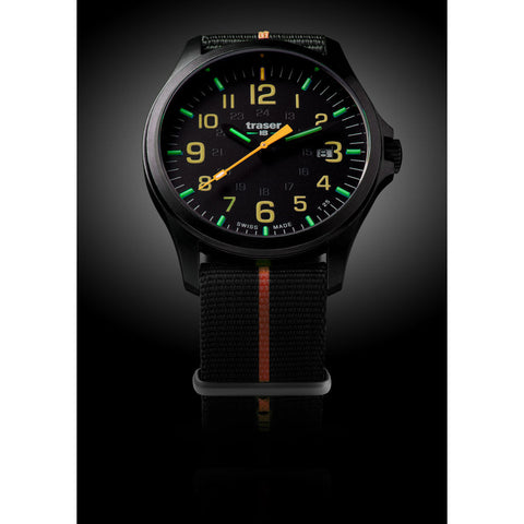 traser H3 Black/Orange P67 Officer Pro Gunmetal Watch | Textile Strap73-107425