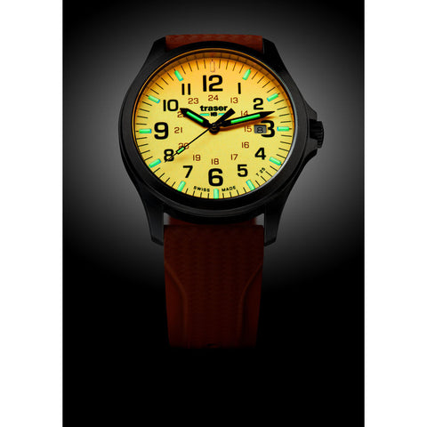 traser H3 Orange P67 Officer Pro Gunmetal Watch | Rubber Strap75-107423