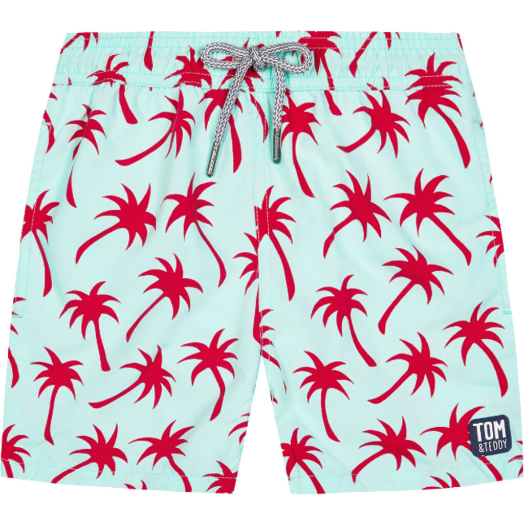 Tom & Teddy Boy's Palms Shorts | Ice Green & Fuchsia