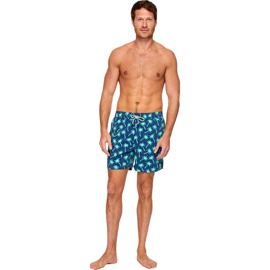 Tom & Teddy Men's Palms Shorts | Navy & Spring Green