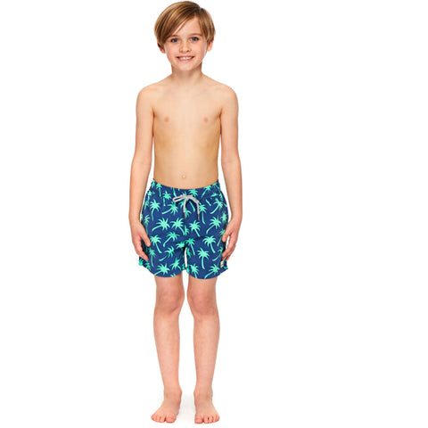 Tom & Teddy Boy's Palms Shorts | Navy & Spring Green