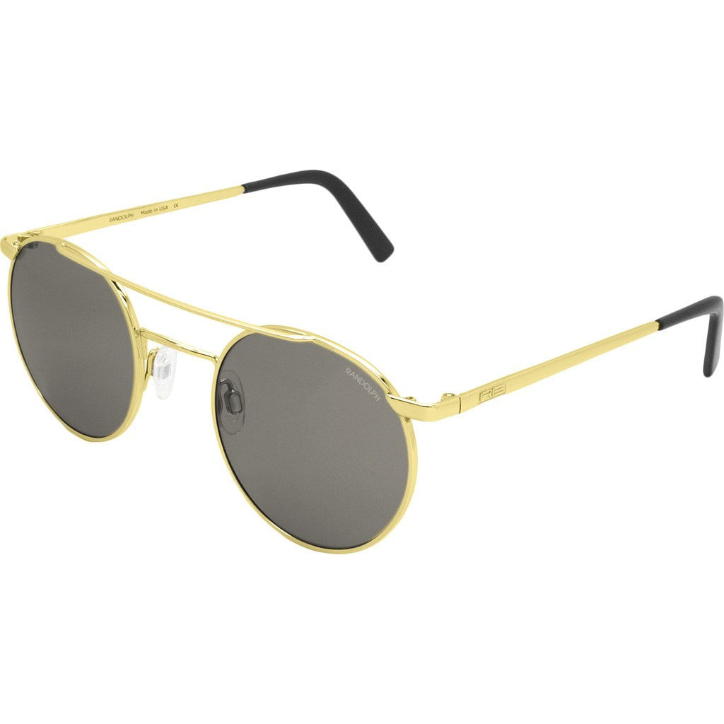 Randolph Engineering P-3 Shadow 23K Gold Sunglasses | Gray Glass Skull 49MM PBP1411