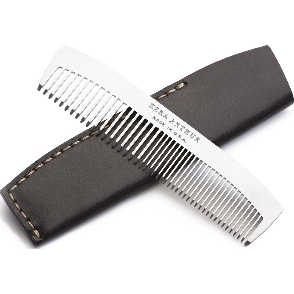 Ezra Arthur No.1827 Pocket Comb with Sleeve | Jet Top Stitch Pc1827Ss05