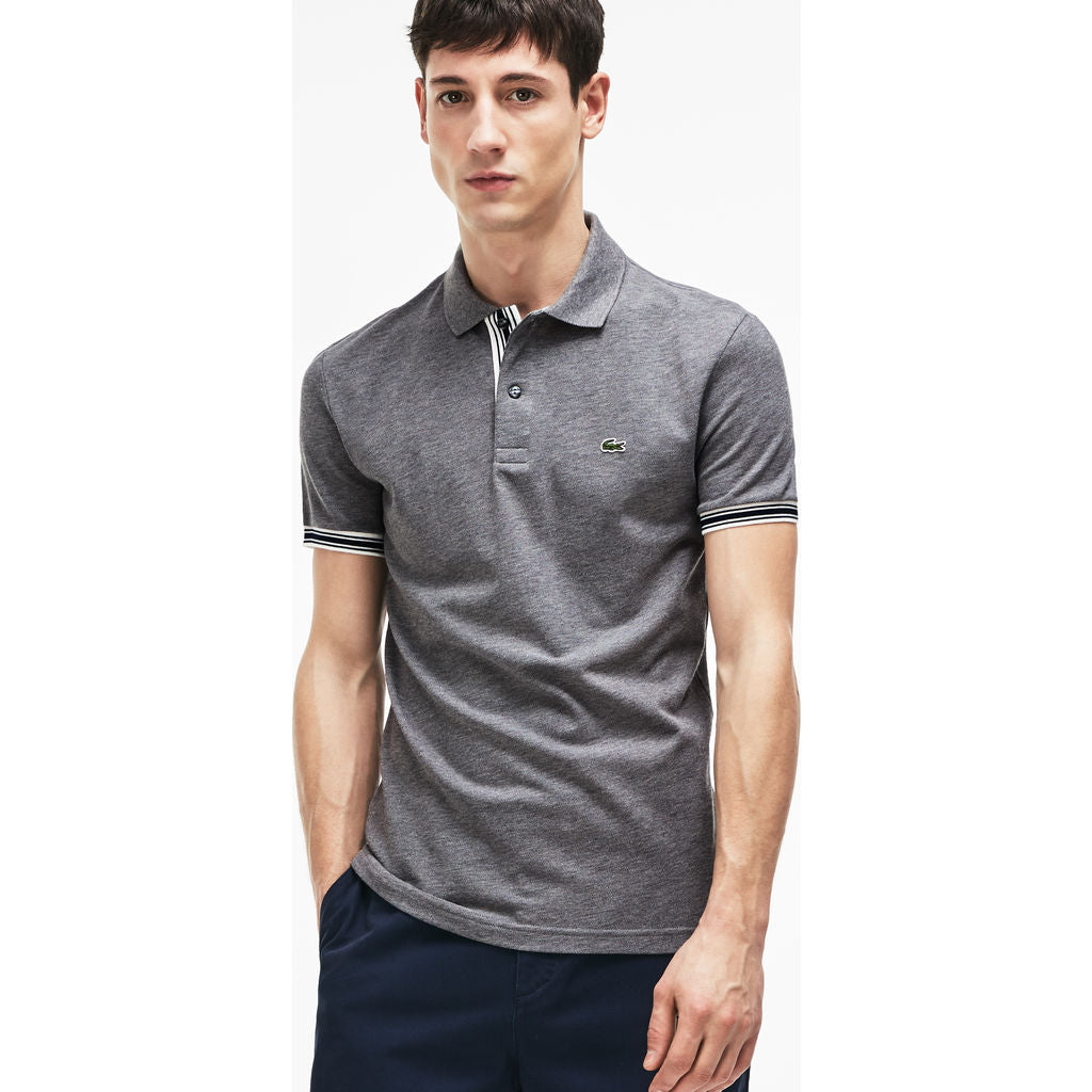 97b27673 ... Lacoste Slim Fit Piped Sleeves Men's Polo Shirt | Galaxite Chine PH3187  ...