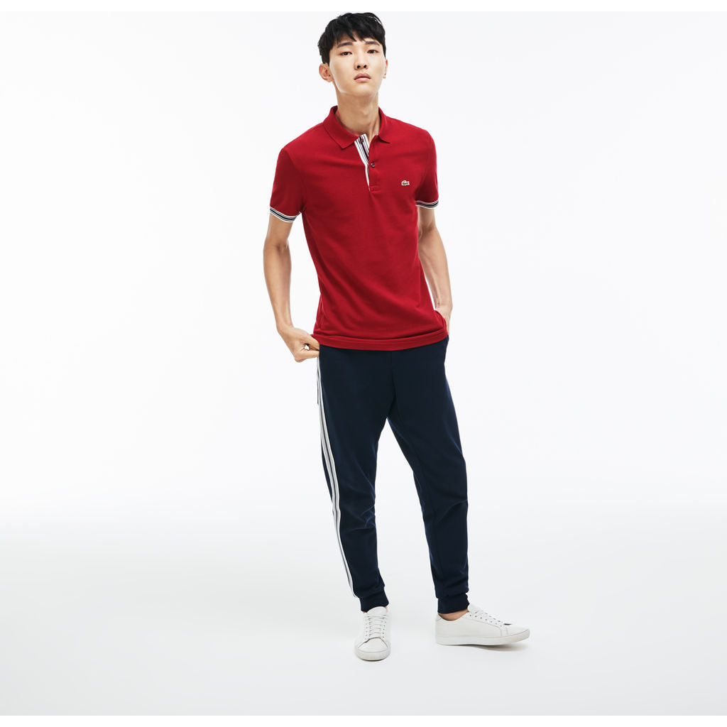 Lacoste Slim Fit Piped Sleeves Men's Polo Shirt | Autumnal Red PH3187