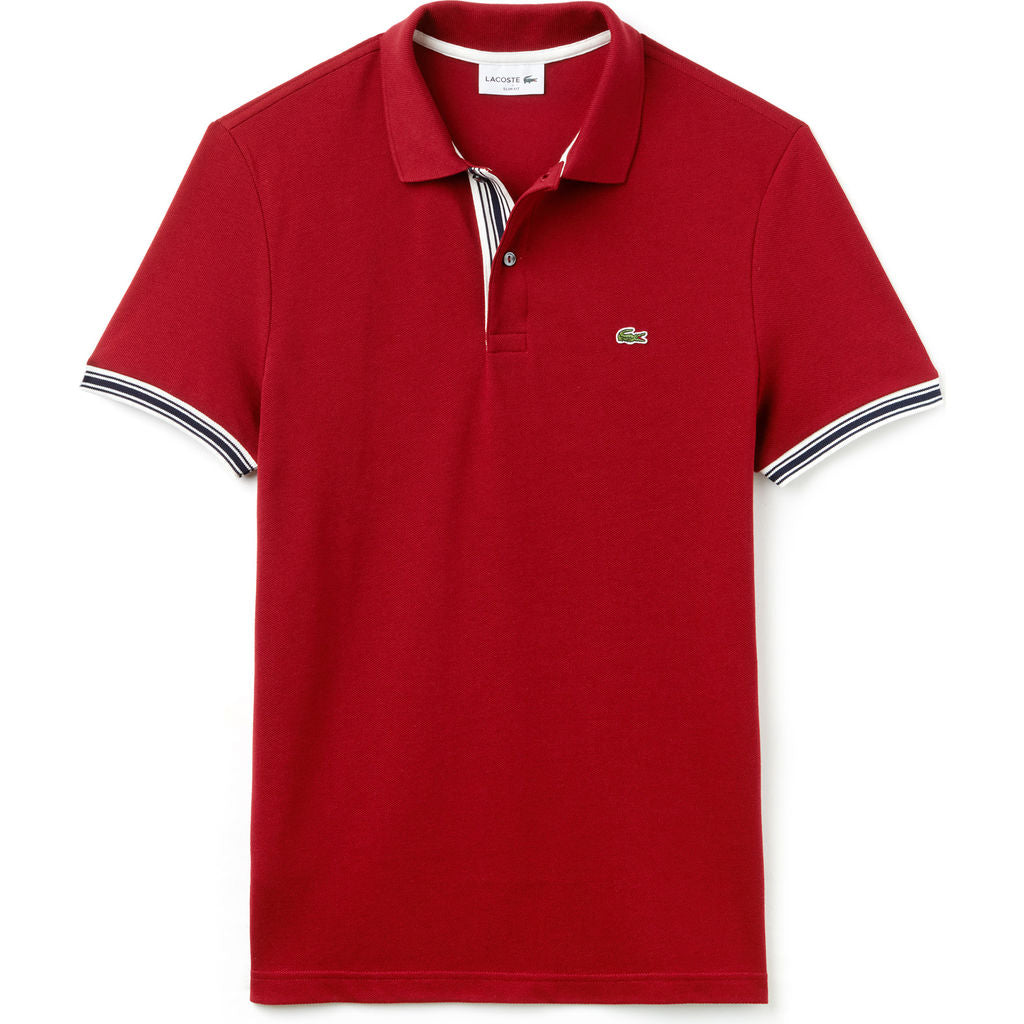 Lacoste Slim Fit Piped Sleeves Mens Polo Shirt In Autumnal Red