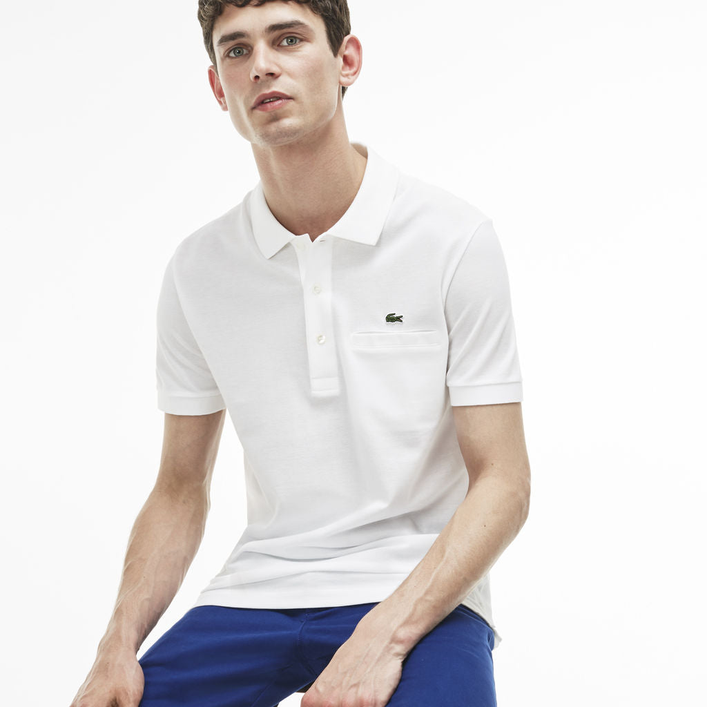 48a5f814 Lacoste Slim Fit Pique Men's Polo Shirt in White - Sportique