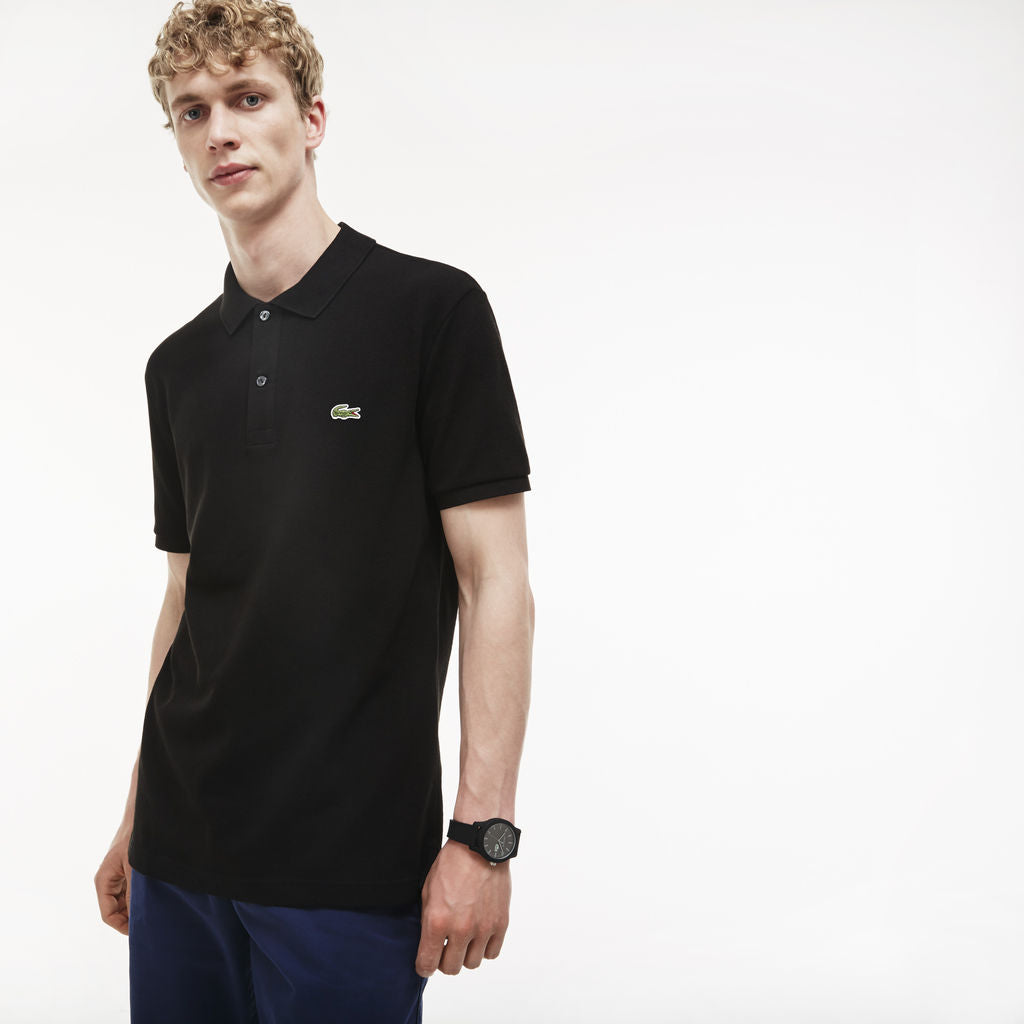 48c29ca42a Lacoste Slim Fit Pique Men s Polo Shirt in Black - Sportique