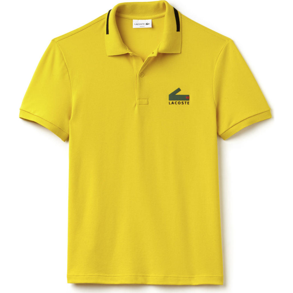 90f9d6f5a8 Lacoste Slim Fit Graphic Pique Men's Polo Shirt | Calcutta Yellow/Black