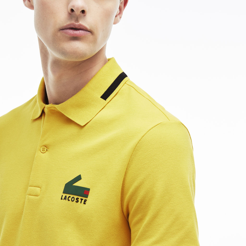 317c4c0d Lacoste Slim Fit Graphic Pique Men's Polo Shirt | Calcutta Yellow/Black ...