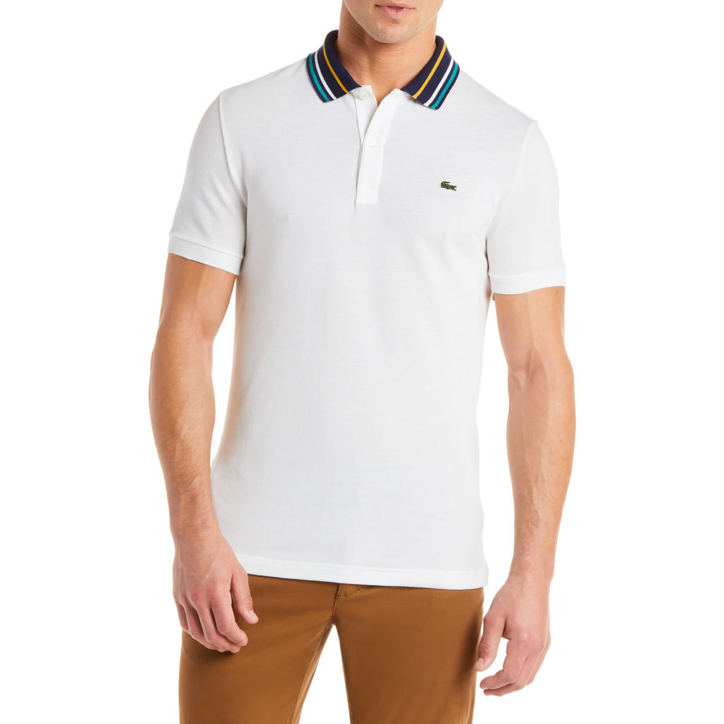 a0b97575 Lacoste Men's Slim Fit Striped Contrast Collar Petit Pique Polo ...