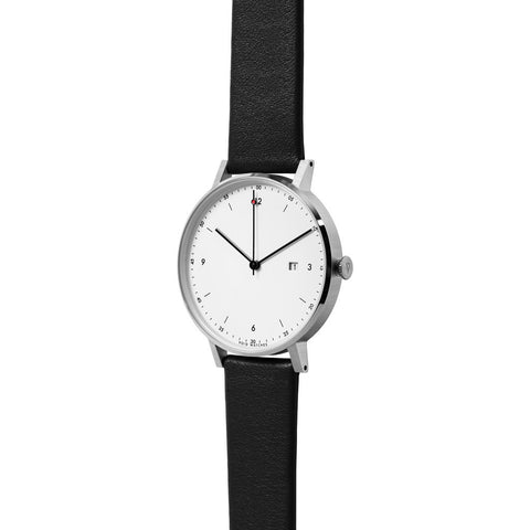 VOID PKG01 Brushed Round White Watch | Black Leather PKG01-SI/BL/WH