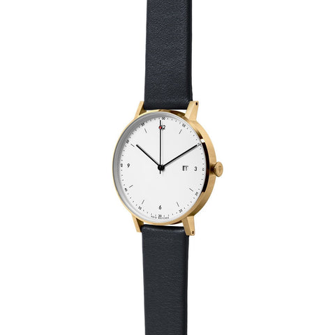 VOID Gold Round White Date Watch | Black leather PKG01-GO/BL/WH