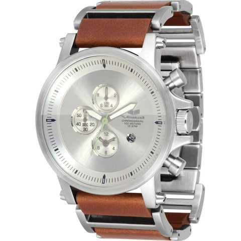 Vestal Plexi Leather Watch | Silver/Brown/Brushed PLE034