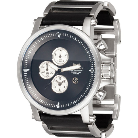 Vestal Plexi Leather Watch | Brushed Silver/Black/Black PLE036