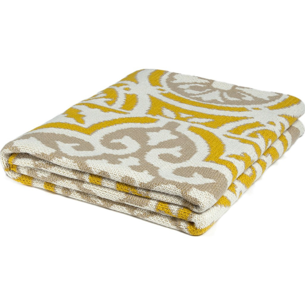 in2green Vintage Tile Poly Eco Throw | Yellow/Camel/Ivory POLY-VT04