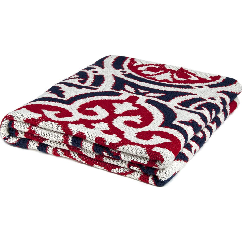 in2green Vintage Tile Poly Eco Throw | Navy/Red/Ivory POLY-VT05