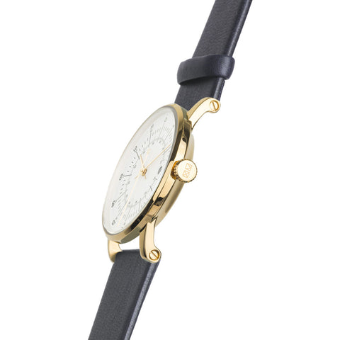squarestreet SQ38 Plano Polished Gold Stainless Steel Watch | Eggshell White/Navy Leather  SQ38 PS-08