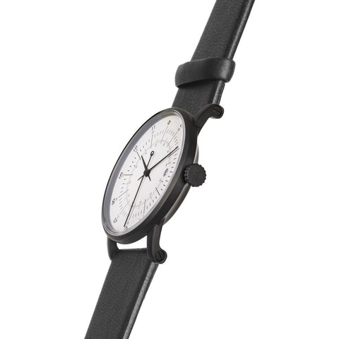 squarestreet SQ38 Plano Matte Black Stainless Steel Watch | Eggshell White/Black Leather  SQ38 PS-16