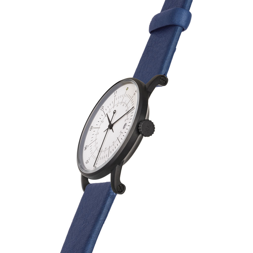 squarestreet SQ38 Plano Matte Black Stainless Steel Watch | Eggshell White/SWEDISH Blue Reindeer Leather  SQ38 PS-29