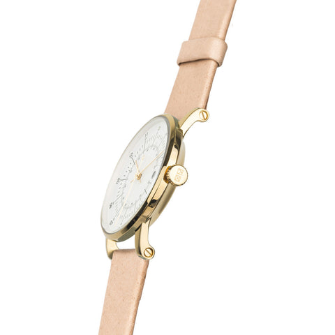 squarestreet SQ38 Plano Polished Gold Stainless Steel Watch | Eggshell White/SWEDISH Natural Reindeer Leather SQ38 PS-32