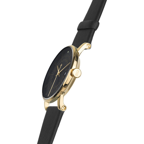 squarestreet SQ38 Plano Polished Gold Stainless Steel Watch | Black/SWEDISH Black Reindeer Leather  SQ38 PS-36