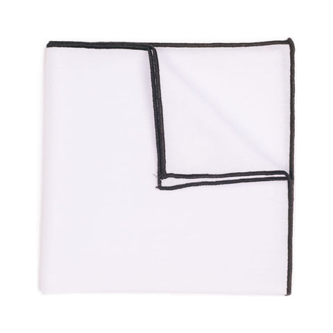 Hook & Albert Thompson Pocket Square | Black PSSDC15F-WHCH-OS