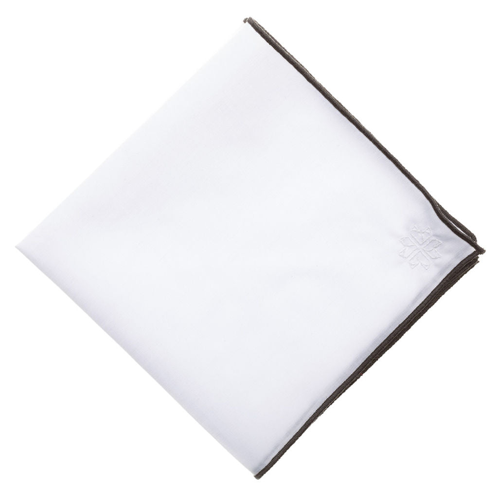 Hook & Albert Thompson Pocket Square | White