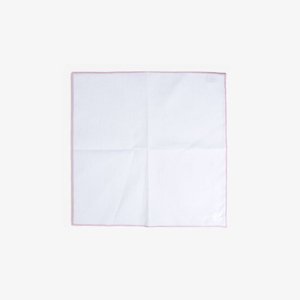 Hook & Albert Pocket Square | White Staple Pink Trim PSWCS-PNK-OS