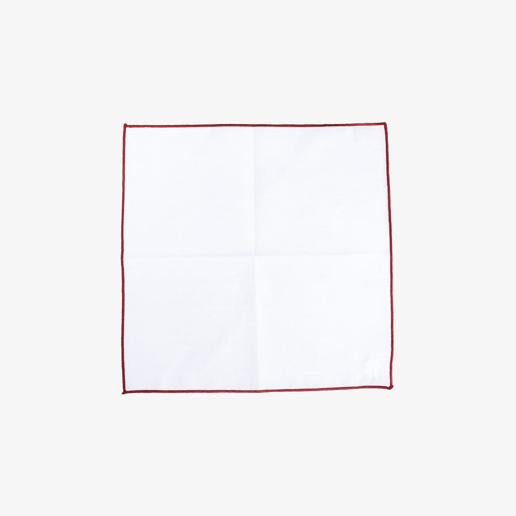 Hook & Albert Pocket Square | White Staple Red Trim PSWCS-RED-OS