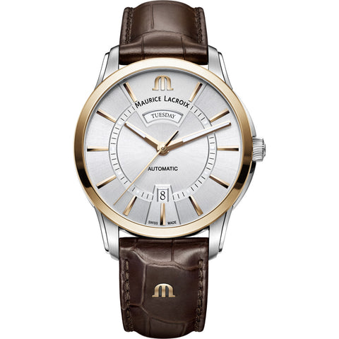 Maurice Lacroix Pontos Day Date 41mm Watch | Gold/ Brown Leather PT6358-PS101-130-1