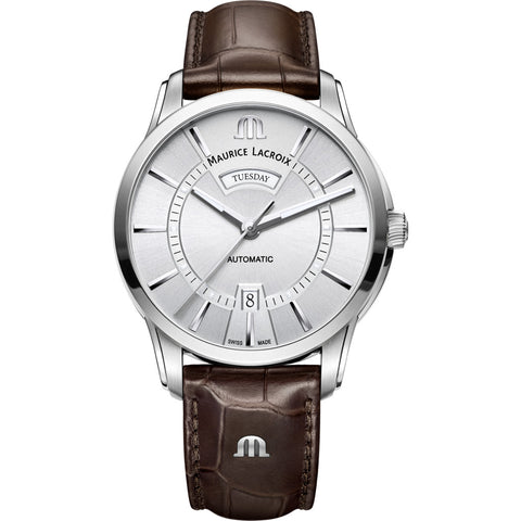 Maurice Lacroix Pontos Day Date 41mm Watch | Silver/Brown Leather PT6358-SS001-130-1