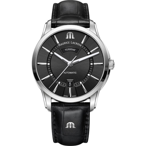 Maurice Lacroix Pontos Day Date 41mm Watch | Black/Black Leather PT6358-SS001-330-1